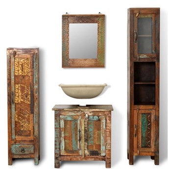 Zestaw mebli łazienkowych z drewna odzyskanego, lustro i 2 szafki