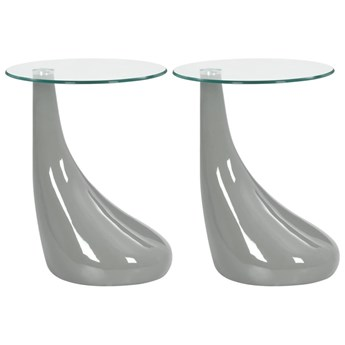 VidaXL 2 szare stoliki z okrągłym, szklanym blatem, wysoki połysk