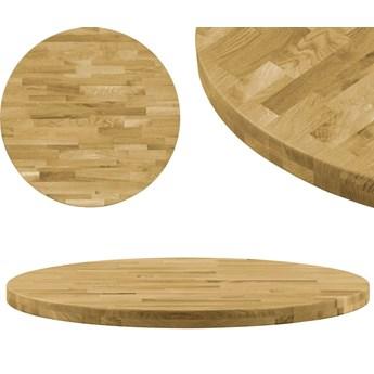 VidaXL Okrągły blat do stolika z litego drewna dębowego, 44 mm, 900 mm
