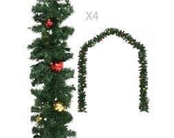 VidaXL Girlandy świąteczne, 4 szt., z bombkami, zielone, 270 cm, PVC