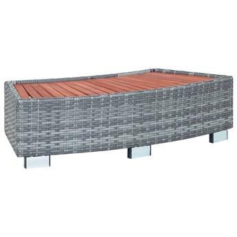 VidaXL Stopień do spa, szary, 92 x 45 x 25 cm, polirattanowy