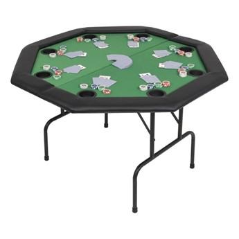 VidaXL Składany stół do pokera dla 8 graczy, ośmiokątny, zielony