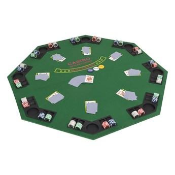 VidaXL Składany blat do pokera dla 8 graczy, ośmiokątny, zielony