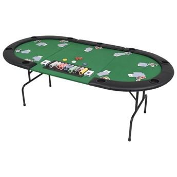 VidaXL Składany, owalny stół do pokera dla 9 graczy, zielony