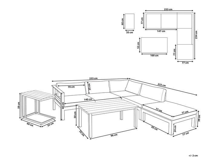 Zestaw mebli ogrodowych 6-osobowy biały aluminium zielone poduszki narożnik pufa stół stolik Zestawy wypoczynkowe Zestawy modułowe Tworzywo sztuczne Styl Nowoczesny