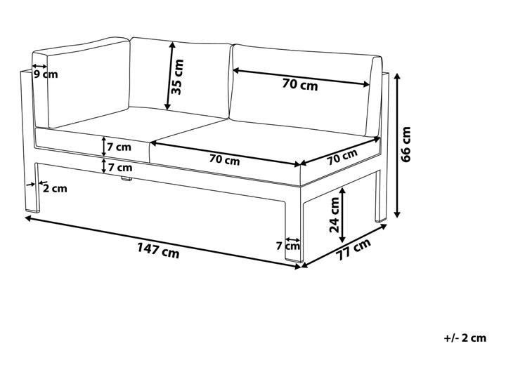 Zestaw mebli ogrodowych 6-osobowy biały aluminium zielone poduszki narożnik pufa stół stolik Zestawy wypoczynkowe Tworzywo sztuczne Zestawy modułowe Liczba miejsc Pięcioosobowy