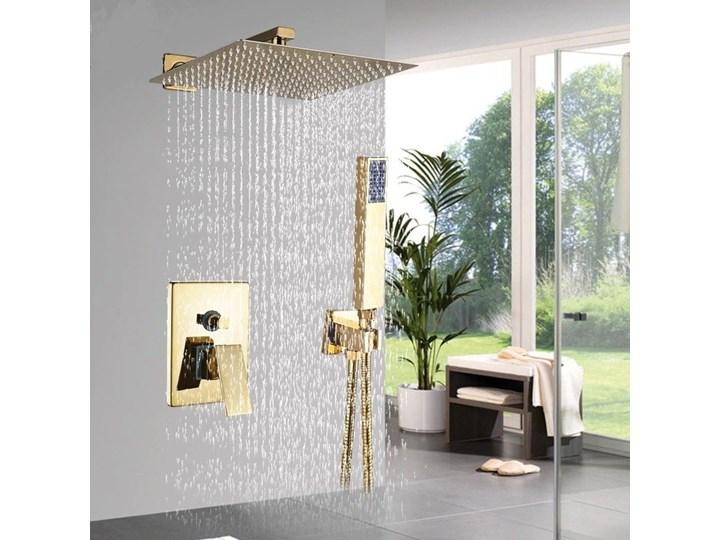Złoty zestaw prysznicowy podtynkowy wannowy 30x30cm Wyposażenie Z wężem