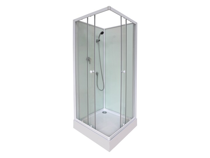 Kabina prysznicowa kwadratowa Arkell 80 cm z tylnymi ściankami i niskim brodzikiem Kolor Srebrny Przyścienna Kategoria Kabiny prysznicowe
