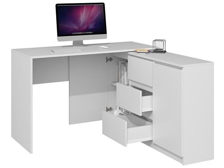 Białe biurko narożne z komodą - Luvis 4X