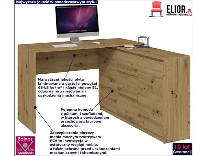 Biurko narożne z komodą Luvis 4X - dąb artisan Styl Nowoczesny Kategoria Biurka