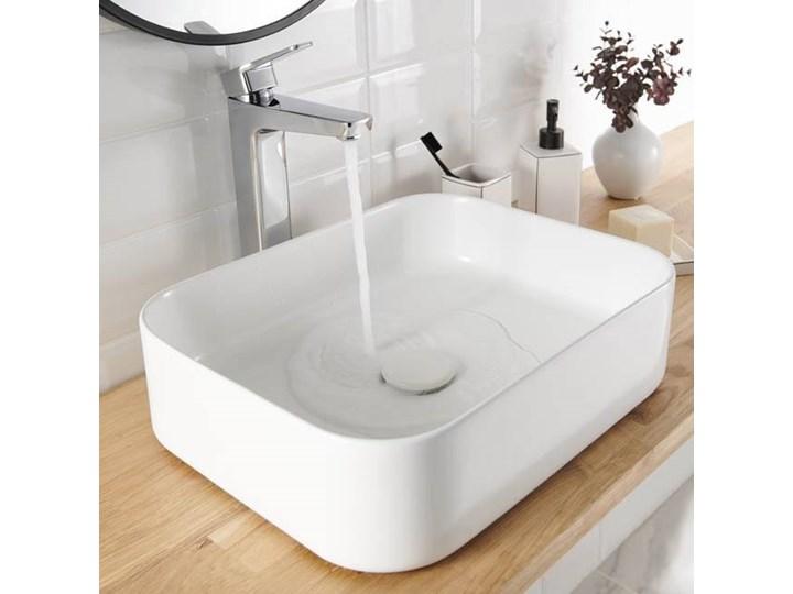 Umywalka nablatowa GoodHome Tekapo 45 x 35 x 12 cm biała Nablatowe Narożne Szerokość 45 cm Prostokątne Podwieszane Kolor Biały