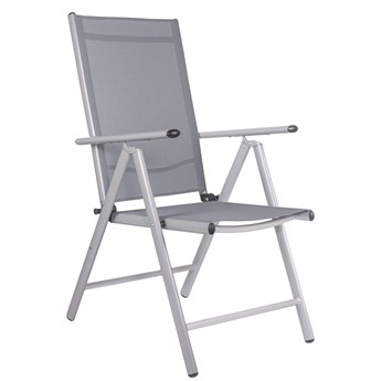 Składane krzesło ogrodowe aluminium szare na balkon