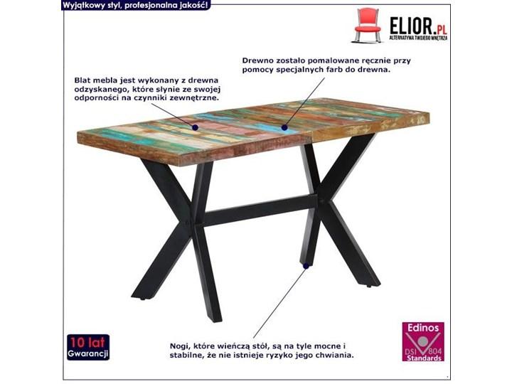 Wielokolorowy stół z drewna odzyskanego – Kalis 3X Drewno Długość 140 cm  Szerokość 70 cm Długość 70 cm Wysokość 75 cm Kategoria Stoły kuchenne