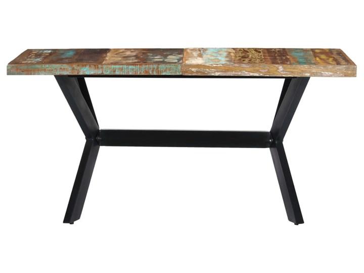 Wielokolorowy stół z drewna odzyskanego – Kalis 3X Drewno Szerokość 70 cm Długość 140 cm  Styl Vintage Wysokość 75 cm Długość 70 cm Kształt blatu Prostokątny