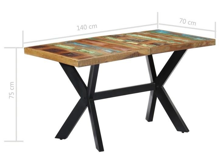 Wielokolorowy stół z drewna odzyskanego – Kalis 3X Szerokość 70 cm Wysokość 75 cm Długość 140 cm  Długość 70 cm Drewno Kształt blatu Prostokątny