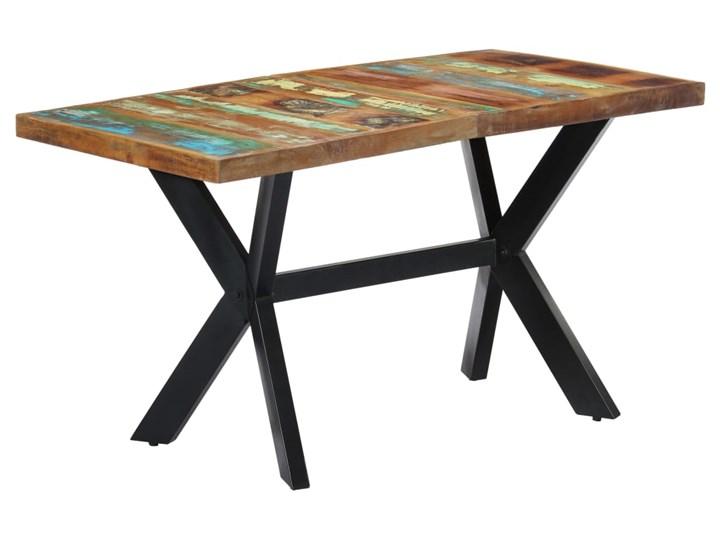 Wielokolorowy stół z drewna odzyskanego – Kalis 3X Długość 70 cm Wysokość 75 cm Drewno Szerokość 70 cm Długość 140 cm  Rozkładanie