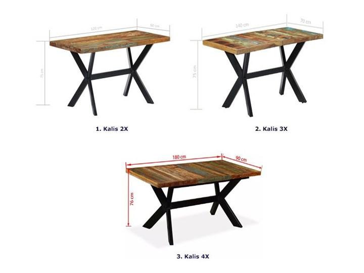 Wielokolorowy stół z drewna odzyskanego – Kalis 3X Długość 140 cm  Szerokość 70 cm Wysokość 75 cm Drewno Długość 70 cm Kształt blatu Prostokątny