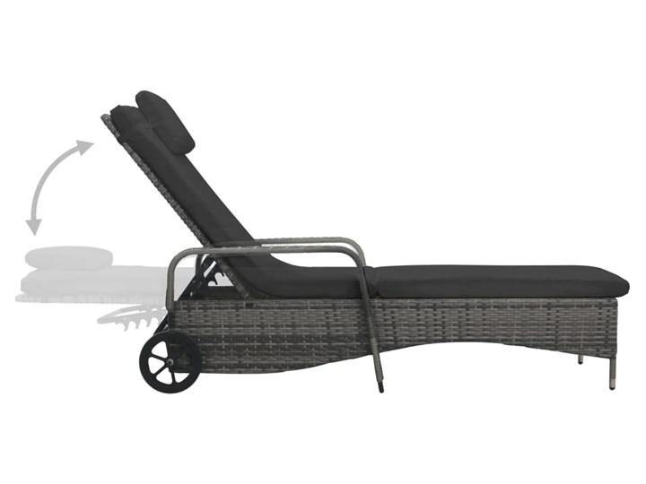 vidaXL Leżak ogrodowy z kółkami, polirattan, antracytowy Metal Kolor Czarny Z regulowanym oparciem Kategoria Leżaki ogrodowe