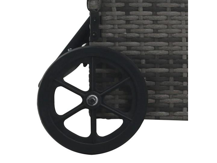 vidaXL Leżak ogrodowy z kółkami, polirattan, antracytowy Kolor Czarny Z regulowanym oparciem Metal Kategoria Leżaki ogrodowe