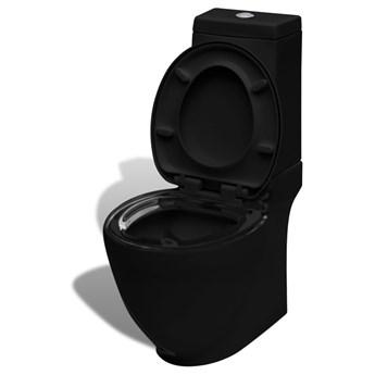 vidaXL Toaleta ceramiczna, odpływ poziomy, czarna