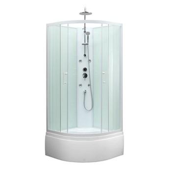 Kabina prysznicowa z hydromasażem Onega 85 cm półokrągła wysoki brodzik biała