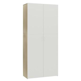 VidaXL Szafka na buty, kolor biały i dąb sonoma, 80x35,5x180 cm