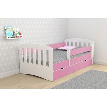 Łóżko dziewczęce z szufladą i materacem Pinokio 2X 80x160 - różowe