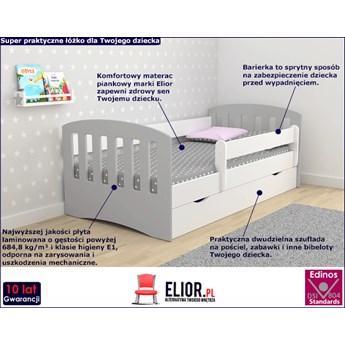Łóżko dziecinne z barierką Pinokio 2X mix 80x180 - szare