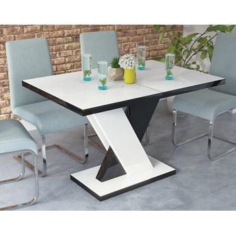 Rozkładany stół w wysokim połysku Dixon biały / czarny