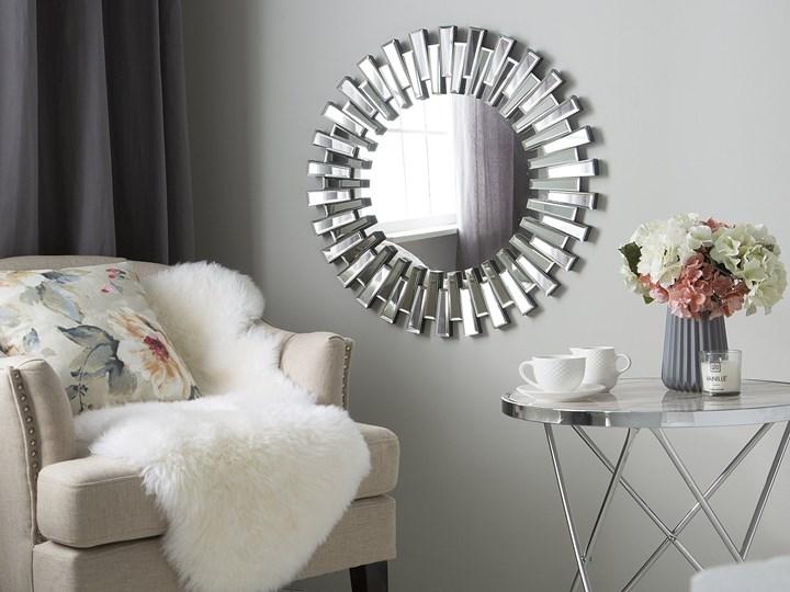 Lustro srebrne okrągłe słońce kształt nowoczesne salon przedpokój Lustro bez ramy Kolor Srebrny Ścienne Styl Nowoczesny