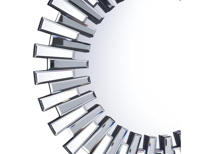 Lustro srebrne okrągłe słońce kształt nowoczesne salon przedpokój Ścienne Lustro bez ramy Kolor Srebrny