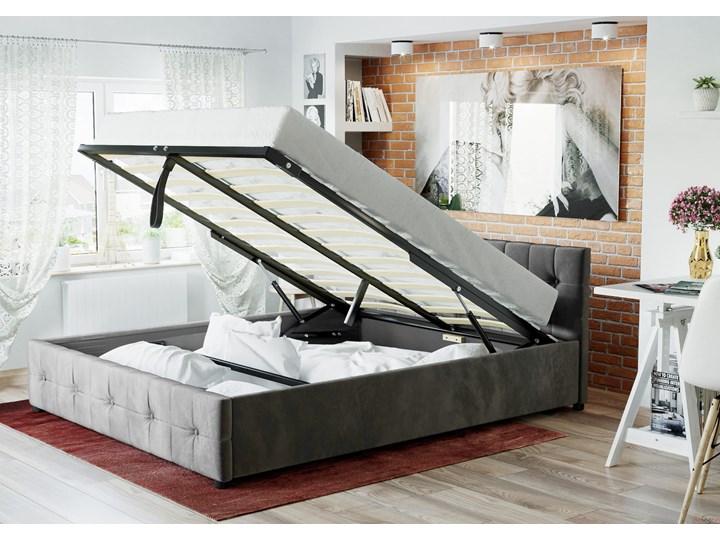 ŁÓŻKO 160X200 Z POJEMNIKIEM - GELA (SFG012A) - WELUR POPIEL Kategoria Łóżka do sypialni Łóżko tapicerowane Kolor Szary