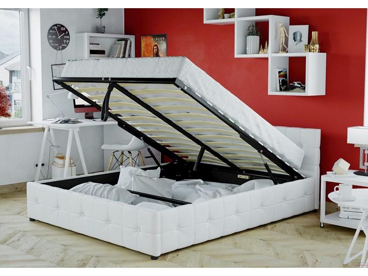 ŁÓŻKO 160x200 Z MATERACEM - GELA (SFG012B) - EKOSKÓRA BIAŁE Łóżko tapicerowane Kategoria Łóżka do sypialni