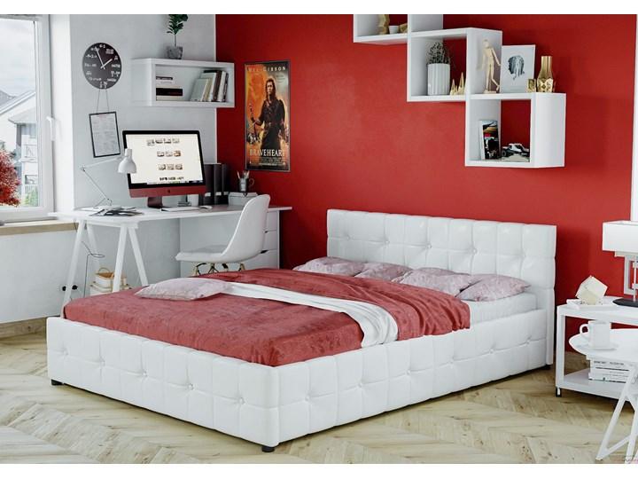 ŁÓŻKO 160x200 Z MATERACEM - GELA (SFG012B) - EKOSKÓRA BIAŁE Kolor Biały Łóżko tapicerowane Kategoria Łóżka do sypialni