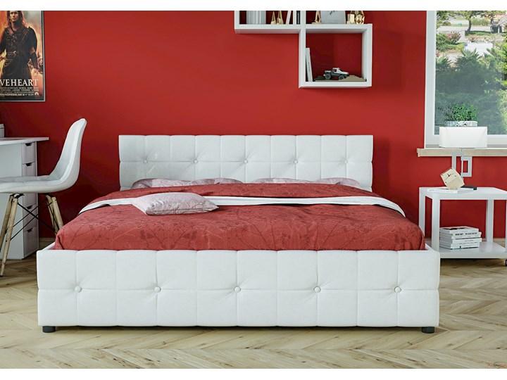 ŁÓŻKO 160x200 Z MATERACEM - GELA (SFG012B) - EKOSKÓRA BIAŁE Łóżko tapicerowane Kolor Biały Kategoria Łóżka do sypialni