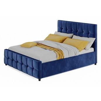 Łóżko 160x200 z materacem - MEDIOLAN (SFG015) - welur niebieski 82