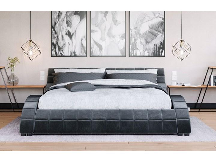 NOWOCZESNE ŁÓŻKO 160x200 Z MATERACEM - MODENA LED (839) - WELUR POPIEL Łóżko tapicerowane Kolor Szary