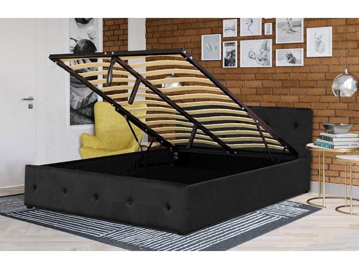 ŁÓŻKO 160X200 Z MATERACEM - GELA (SFG012A) - WELUR CZARNE Kategoria Łóżka do sypialni Łóżko tapicerowane Kolor Czarny