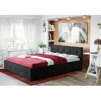 Łóżko 160x200 z materacem • GELA (SFG012A) • welur czarne