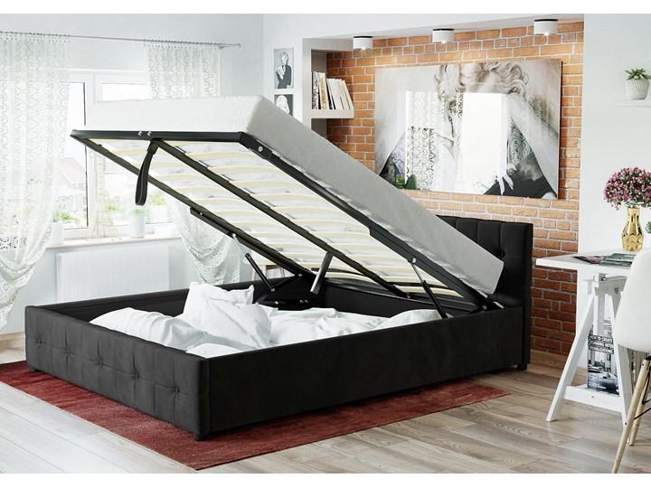 ŁÓŻKO 160X200 Z MATERACEM - GELA (SFG012A) - WELUR CZARNE Łóżko tapicerowane Kategoria Łóżka do sypialni