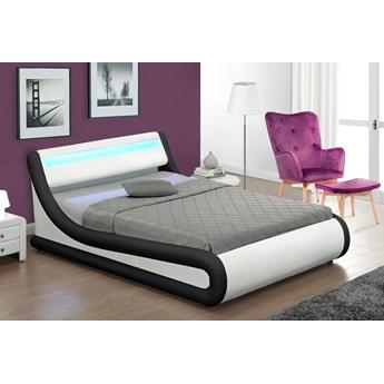 Łóżko z pojemnikiem 160x200 - COSMO (138) LED biało-czarne ekoskóra  z materacem