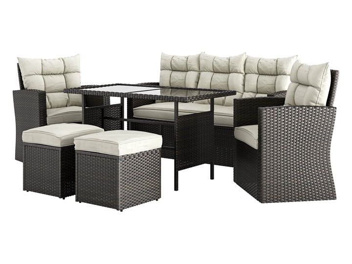 MEBLE OGRODOWE ZESTAW Z TECHNORATTANU DLA 7 OSÓB - 1090 BRĄZ - 6 CZĘŚCIOWY Zestawy wypoczynkowe Stoły z krzesłami Kategoria Zestawy mebli ogrodowych