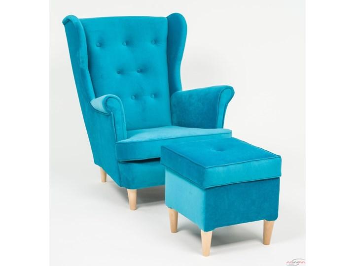 Fotel z podnóżkiem USZAK 3 / kolory do wyboru Drewno Szerokość 74 cm Fotel uszak Wysokość 103 cm Pomieszczenie Salon