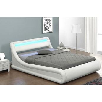 Łóżko z pojemnikiem 140x200 - COMO (138) LED  białe ekoskóra