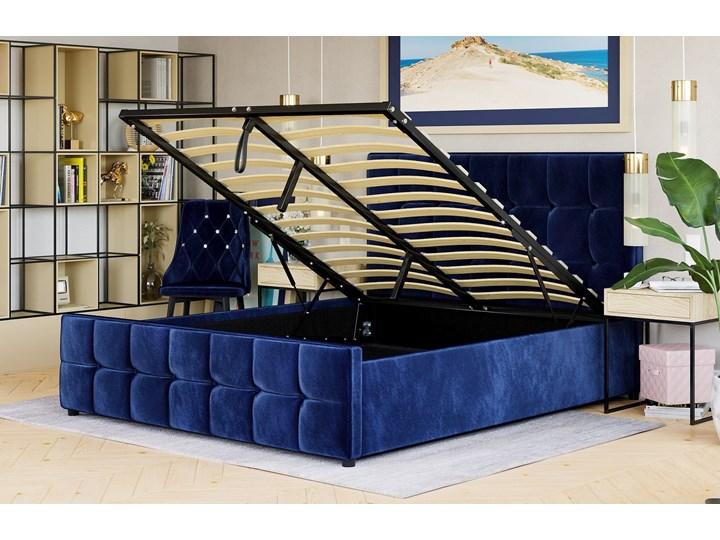 ŁÓŻKO 160X200 Z POJEMNIKIEM - MEDIOLAN (SFG015) - WELUR NIEBIESKI 82 Łóżko tapicerowane Kategoria Łóżka do sypialni
