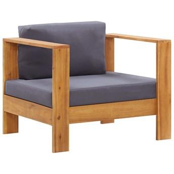 vidaXL Fotel ogrodowy z poduszką, ciemnoszary, lite drewno akacjowe