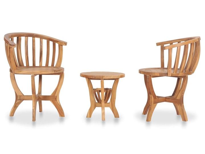 vidaXL 3-cz. ogrodowy zestaw mebli bistro, lite drewno tekowe Kolor Brązowy