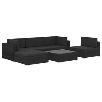 vidaXL 6-cz. zestaw wypoczynkowy do ogrodu, poduszki, czarny rattan PE