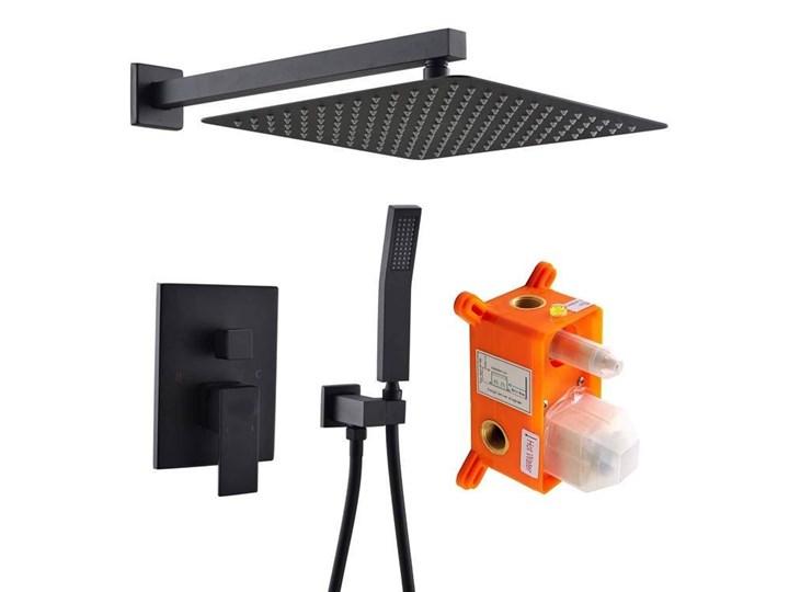 Czarny zestaw prysznicowy podtynkowy Wyposażenie Z wężem Wyposażenie Z uchwytem