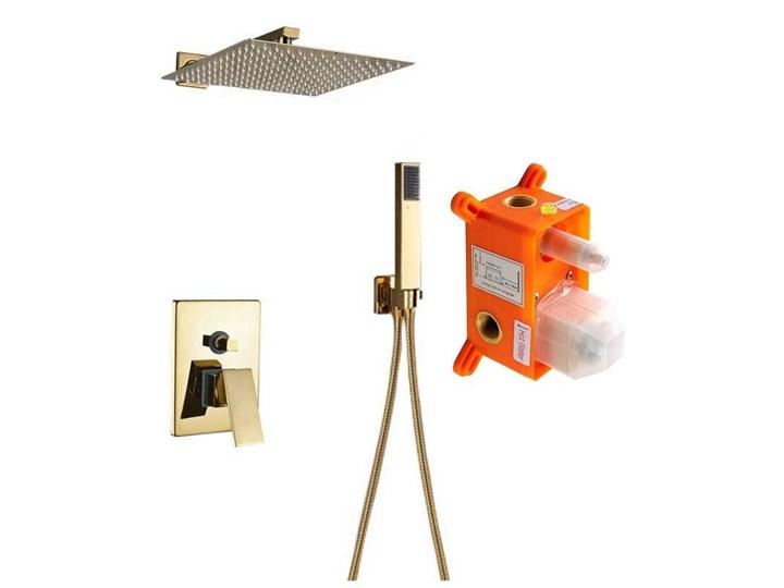 Złoty zestaw prysznicowy podtynkowy wannowy 30x30cm Wyposażenie Z uchwytem Wyposażenie Z wężem